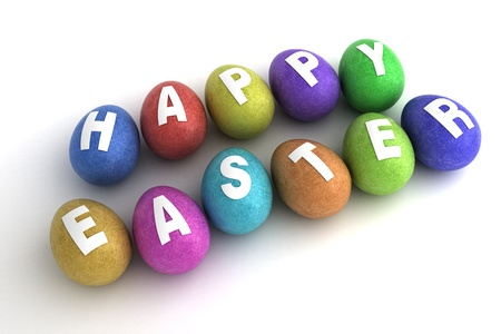 Easter Eggs on white background  Computer generated image  Stock Photo - 16591561