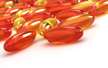 fish oil: Vitamin Supplements on white background  Computer generated image  Stock Photo
