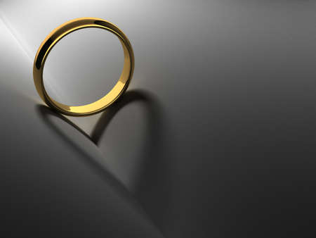 wedding vows: Wedding ring with heart shadow  computer generated image  Stock Photo