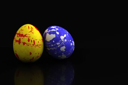 Easter Eggs on black background  Computer generated image Stock Photo - 16645674