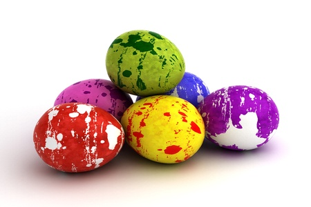 Easter Eggs on black background  Computer generated image  Stock Photo - 16645676