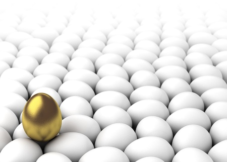 Golden egg on the other whites  Computer generated image  Stock Photo