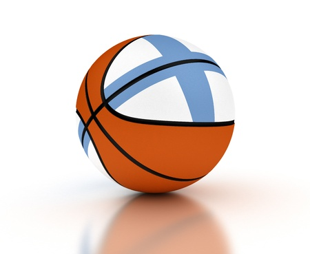 Finnish Basketball Team  isolated with clipping path  photo