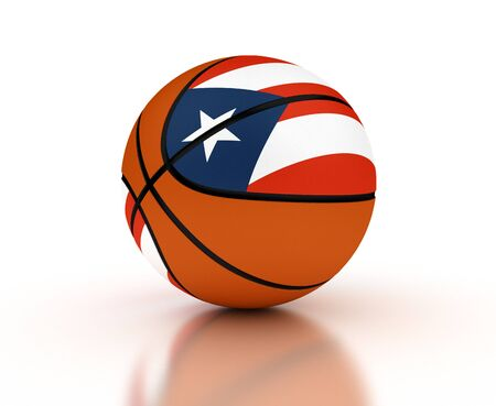 puerto rican flag: Puerto Rican Basketball Team  isolated with clipping path