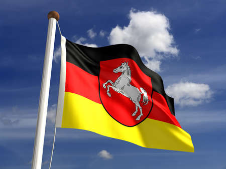 Lower Saxony flag Germany  isolated with clipping path Stock Photo - 16724727