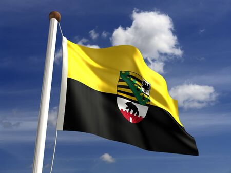 Saxony Anhalt flag Germany  isolated with clipping path  Stock Photo - 16721969