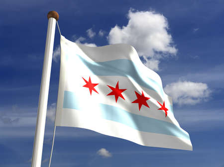 Chicago flag USA  isolated with clipping path  Stock Photo - 16724656