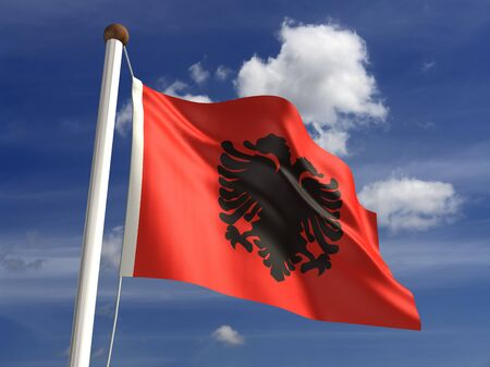 Albania flag  with clipping path  Stock Photo - 16771370