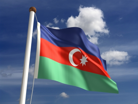 Azerbaijan flag  with clipping path  Stock Photo - 16771378