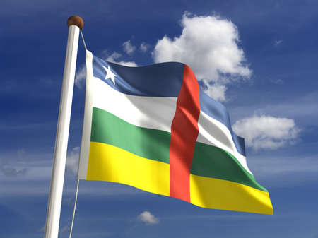 Central African Republic flag  with clipping path  Stock Photo - 16771367