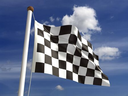 Checkered flag  with clipping path  photo