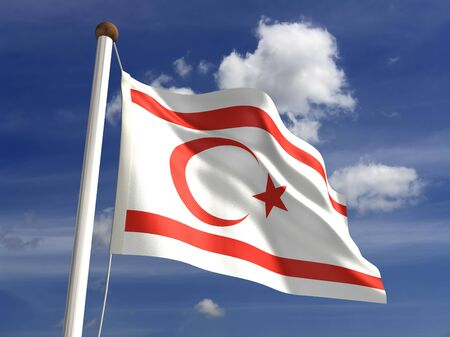 North Cyprus flag  with clipping path Stock Photo - 16771365