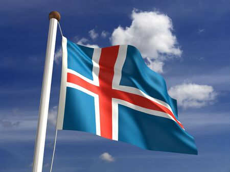 iceland flag: Iceland flag  with clipping path  Stock Photo
