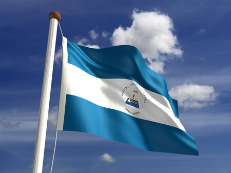 Nicaragua flag  with clipping path Stock Photo - 16771368