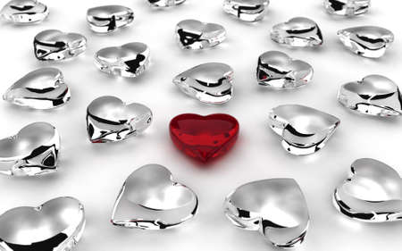 Scattered hearts on white background  computer generated image  Stock Photo - 16988799