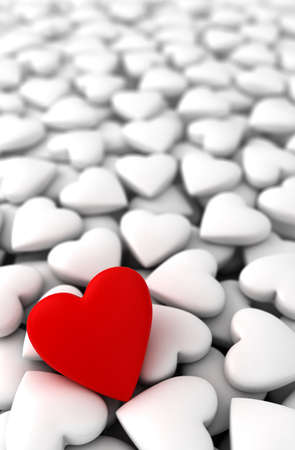 Red heart with white hearts  computer generated image  Stock Photo - 16988806