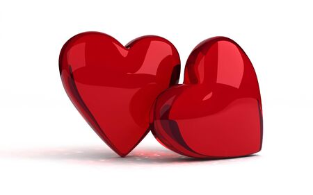 Two hearts on white background  computer generated image Stock Photo - 16988790