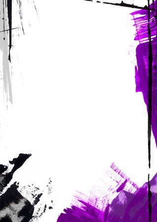 multi layered: Abstract page border  Painted with purple, black and gray