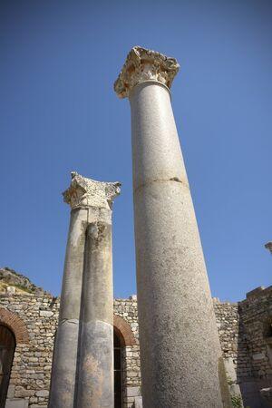 aegean sea: Column details at Ephesus Selcuk Turkey