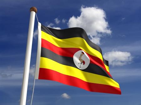 uganda: Uganda flag  with clipping path