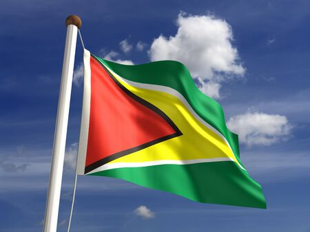 guyanese: Guyana flag  with clipping path