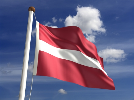 Latvia flag  with clipping path  Stock Photo