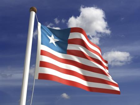 liberia: Liberia flag  with clipping path