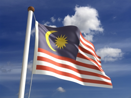 Malaysia flag  with clipping path  photo
