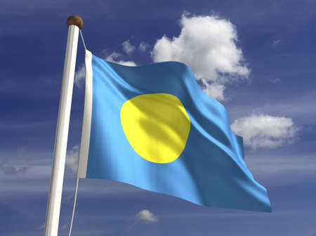 Palau flag  with clipping path  photo
