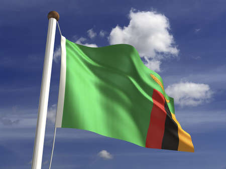zambia flag: Zambia flag  with clipping path