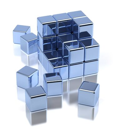 scattered: Scattered metallic cubes on white background Stock Photo