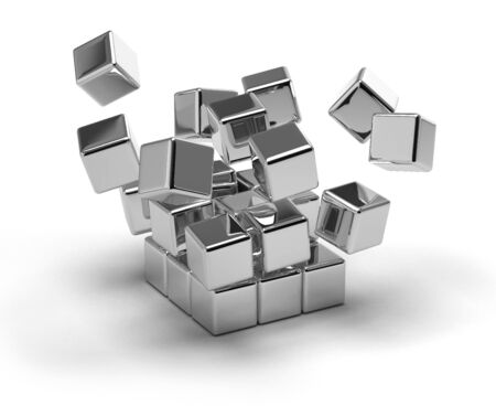 scattered: Metallic cubes exploding on white background Stock Photo