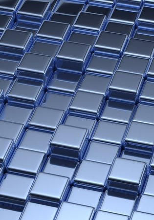 solid silver: Background with tilled blue cubes Stock Photo