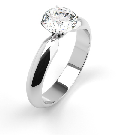 Single diamond ring on white Stock Photo - 18661644