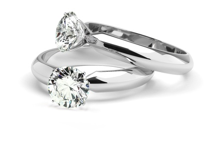 ring light: Two diamond ring on white background