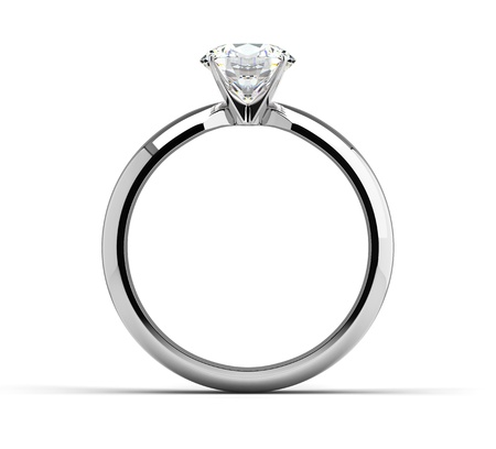 Single diamond ring on white Stock Photo