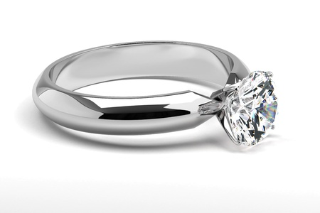 Single diamond ring on white Stock Photo - 18661758