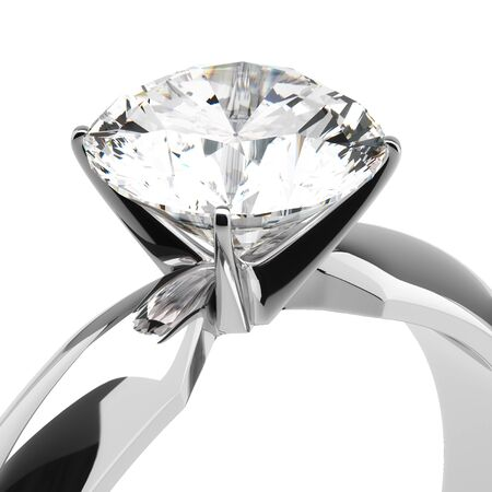 Single diamond ring on white Stock Photo - 18661757