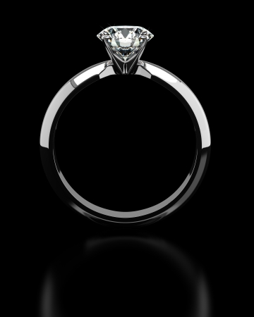Single diamond ring on black Stock Photo - 18661642