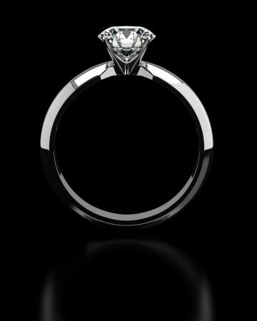 Single diamond ring on black Stock Photo - 18661642