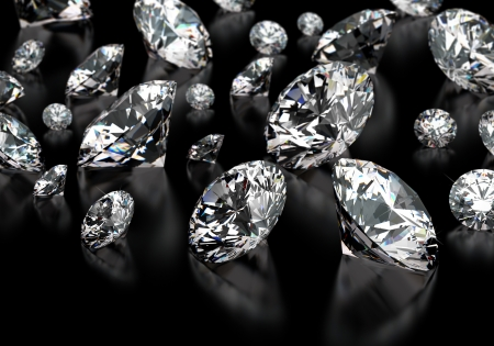 Round cut diamonds on black Stock Photo - 18661803