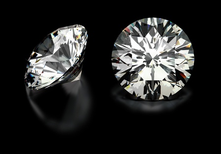 Round cut diamonds on black Stock Photo - 18661801