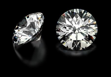 rough diamond: Round cut diamonds on black
