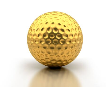 golf ball: Golden golf ball on white