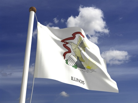 ���clipping path���: Illinois flag  with clipping path  Stock Photo