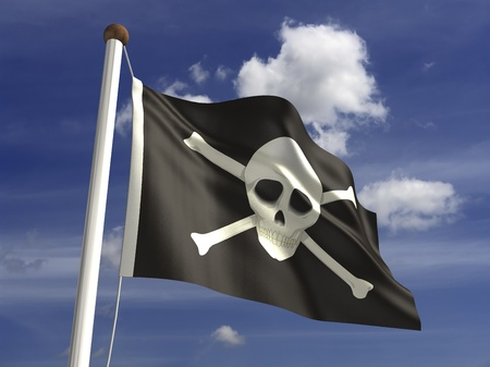 Skull flag  with clipping path  photo