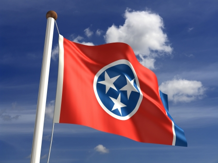flag pole: Tennessee flag  with clipping path