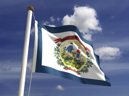west virginia: West Virginia flag  with clipping path  Stock Photo