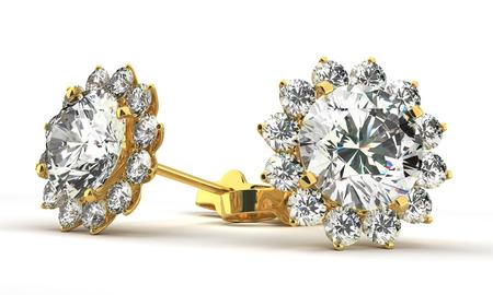 diamond earrings: A couple of diamond earrings Stock Photo