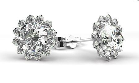 A couple of diamond earrings Stock Photo